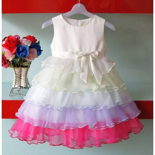 "Flower Girl Formal Dress Model ""Rainbow Princess"" 1-8 years"