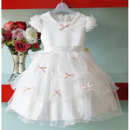 Baby Flower Girl Formal Dress 1-8 years White Pink