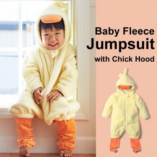 Baby fleece jumpsuit with chick hood