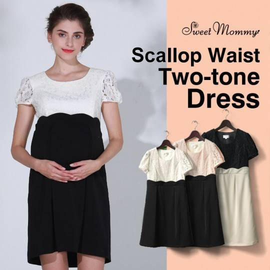 Scallop waist two-tone nursing dress