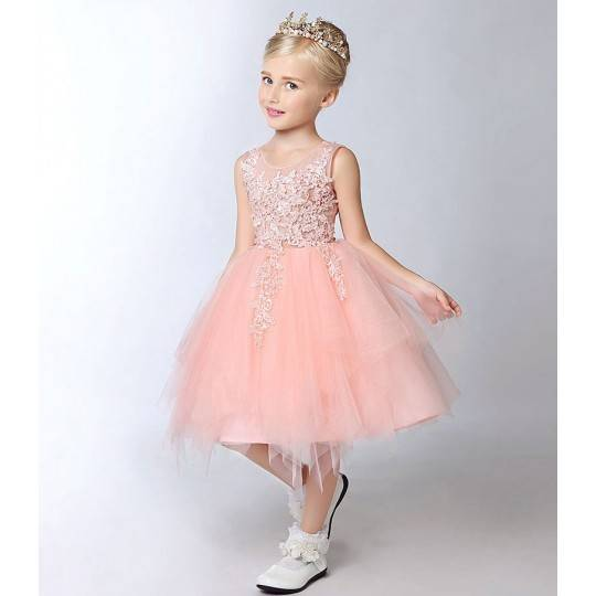 Flower girl peach-coloured formal dress 100-150 cm