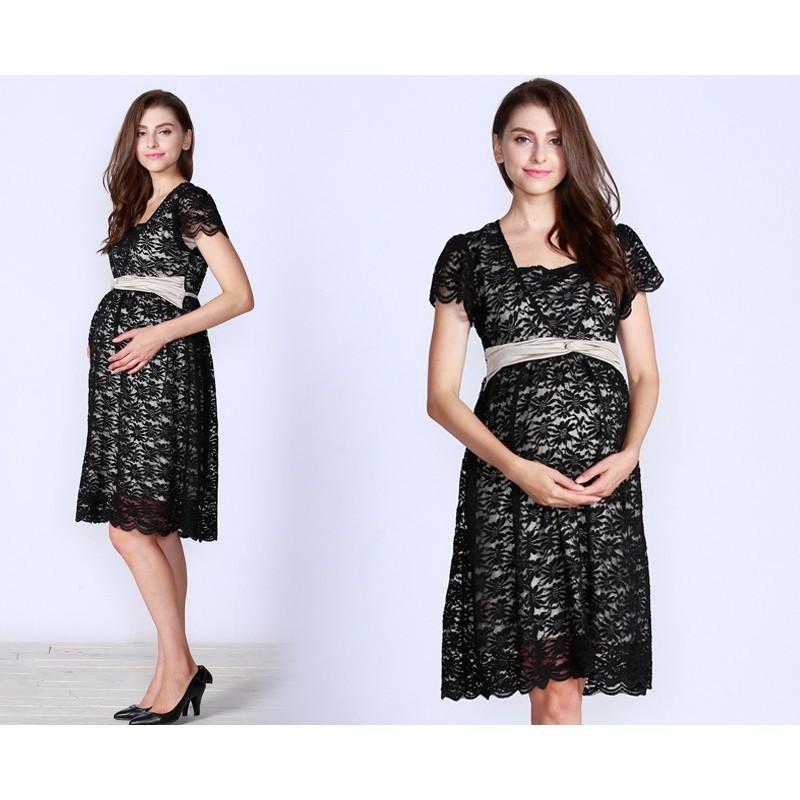 Robe de grossesse et allaitement de cérémonie en dentelle élastique