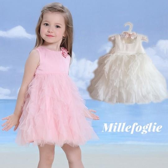 Vestito Cerimonia Damigella Bambina Bianco Rosa 9M - 6 anni