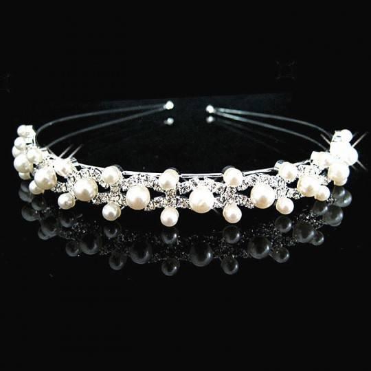 Serre-tête de cérémonie avec perles pour petite fille