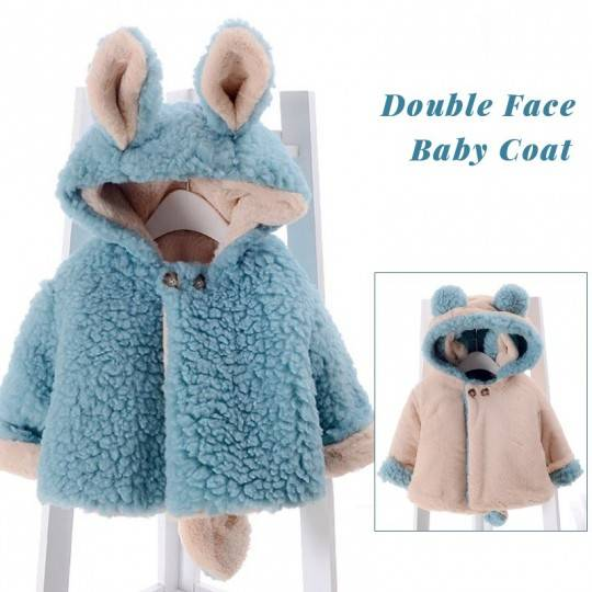 Double face baby coat with ears and tail blue/Off white