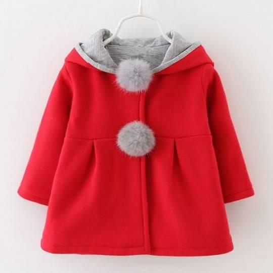 Cappottino natalizio rosso con cappuccio per bimbi