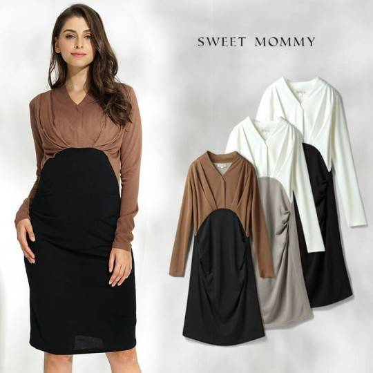 V neck Maternity and nursing long sleeve dress