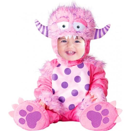 Costume Carnevale Mostro rosa per bambina fino a 3anni