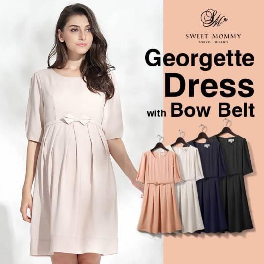 Robe de grossesse et allaitement de cérémonie en tissu Georgette