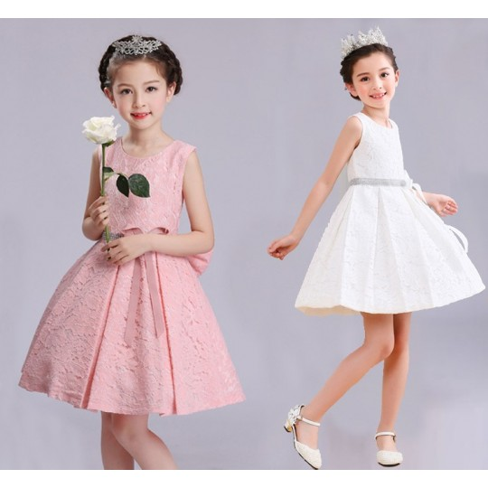 Flower girl white/pink formal dress 100-150 cm