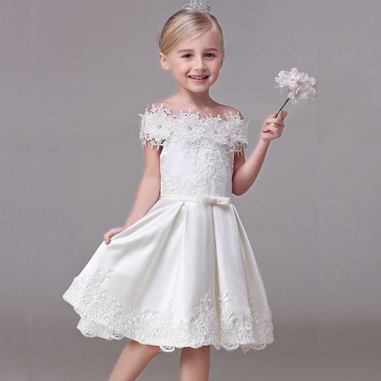 Robe blanche de cérémonie Fille Demoiselle d'honneur 90-140cm