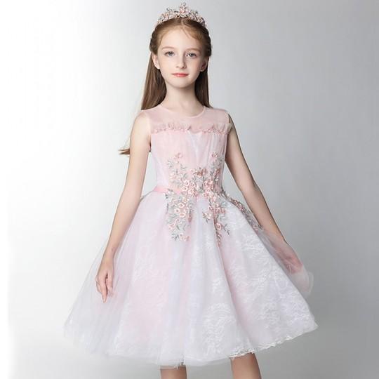 Abito bimba da damigella bianco e rosa ricamato 100-160cm
