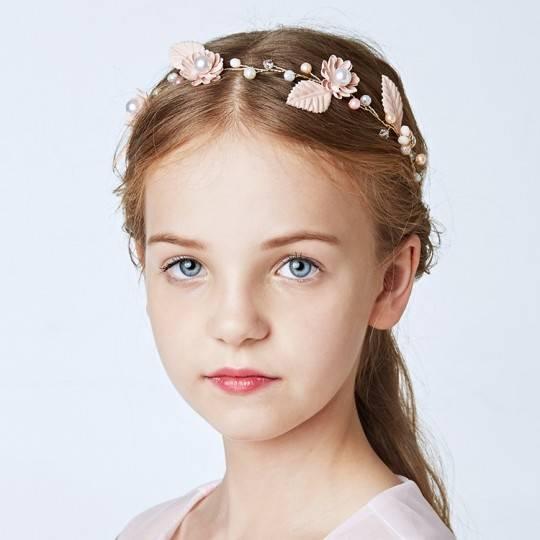 Serre-tête rose décoré de cérémonie pour petite fille