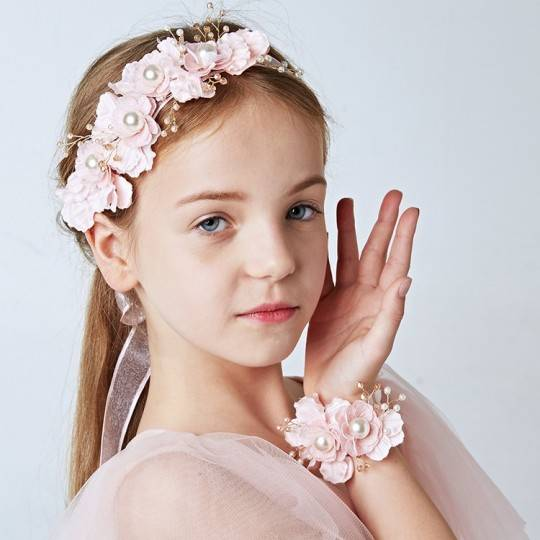 Set serre-tête décoré + corsage de cérémonie pour petite fille