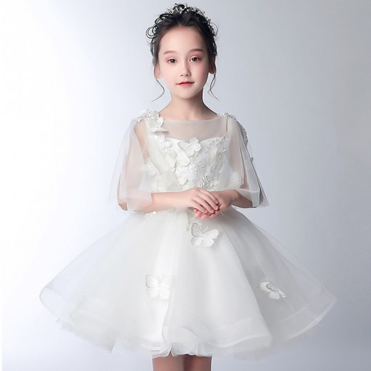 Flower girl formal dress 3/4 sleeves white 100-150 cm
