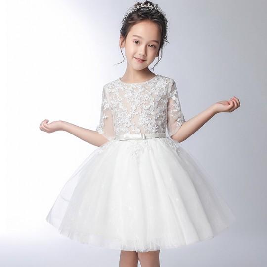 Robe blanche de cérémonie fille-demoiselle d'honneur 100-160cm