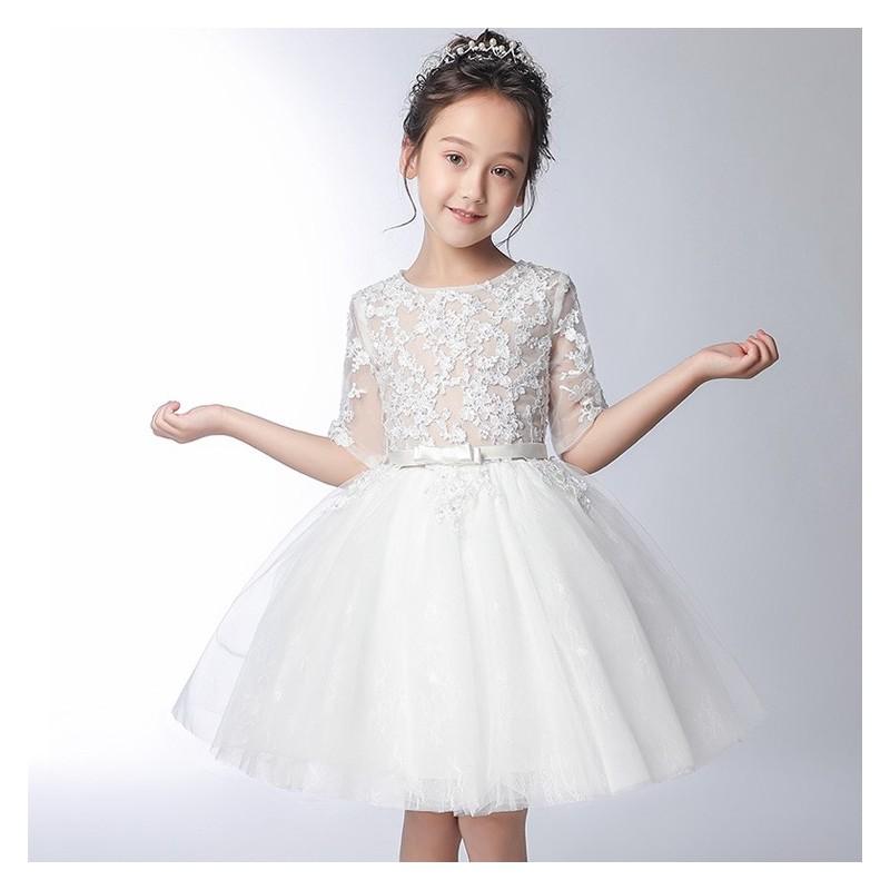 Flower girl white formal dress 100-160 cm