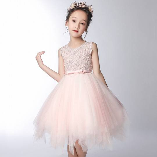 Robe rose clair de cérémonie fille-demoiselle d'honneur 100-160cm
