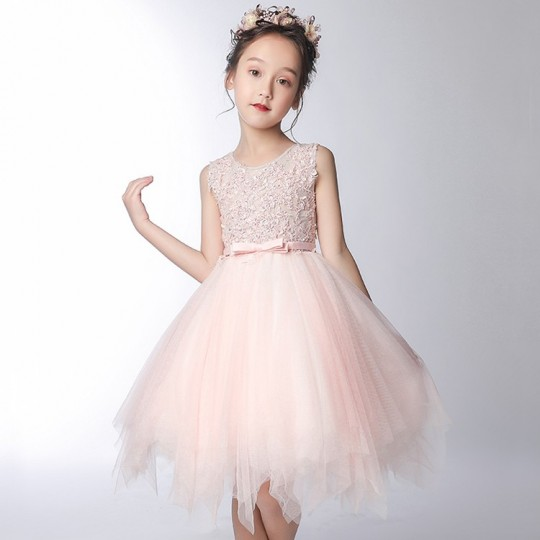 Flower girl light pink formal dress 100-160 cm