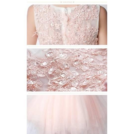 Flower girl light pink formal dress 100-160 cm