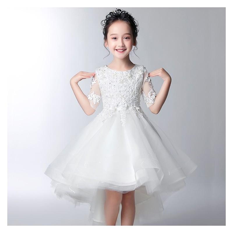 Vestito cerimonia bimba damigella bianco/rosa 100-160cm