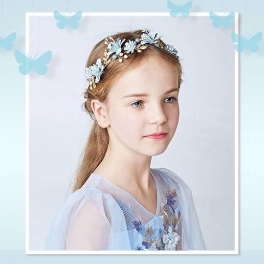 Decorated light blue little girl headband for ceremonies