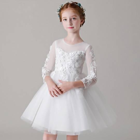 Robe blanche de Cérémonie Fille Demoiselle d'honneur manches longues 100-150cm
