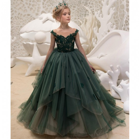 Robe vert foncé de cérémonie fille-demoiselle d'honneur 110-160cm