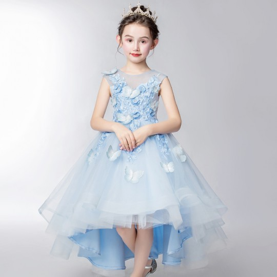 Flower girl ceremony formal dress light blue 110-160cm