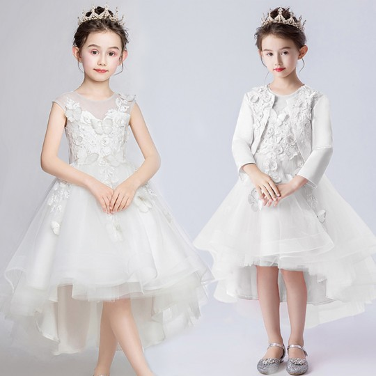 Flower girl ceremony formal dress white 110-160cm