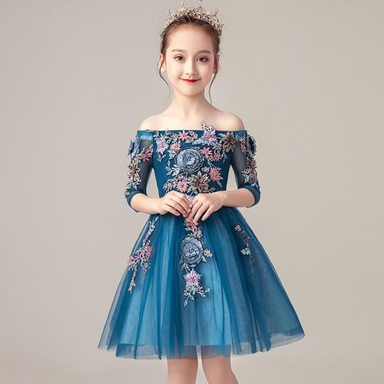 Robe bleue de cérémonie fille demoiselle d'honneur 100-160cm