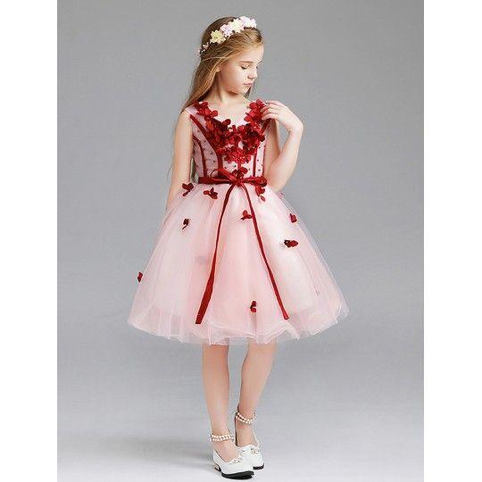 Robe rose et rouge de cérémonie fille-demoiselle d'honneur 110-150cm ou sur mesur