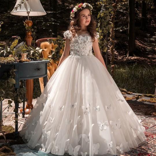 Robe longue blanc de fille-demoiselle d'honneur